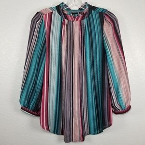 Worthington colorful stripped career blouse. M